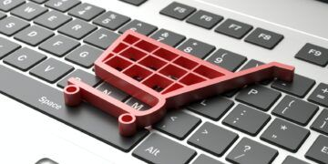 e-commerce symbol on a computer keyboard, black friday concept. 3d illustration